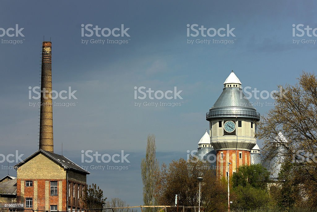 Abandoned old gas towers stock photo