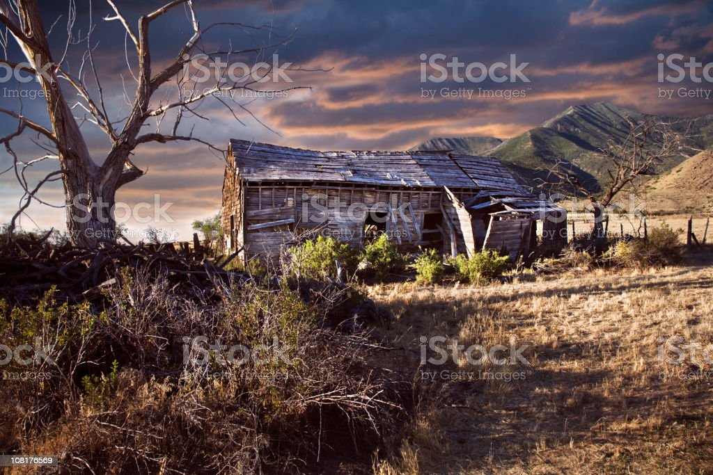 Abandoned, Old House and Overgrown Yard royalty-free stock photo