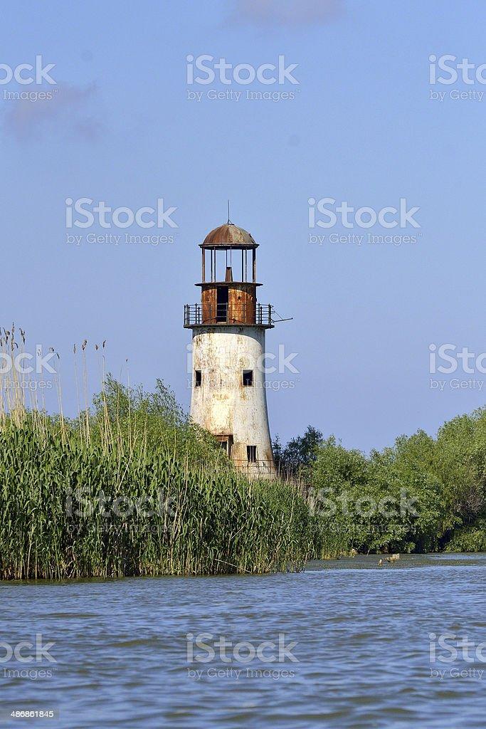 Abandoned old lighthouse of Sulina, Danube delta stock photo