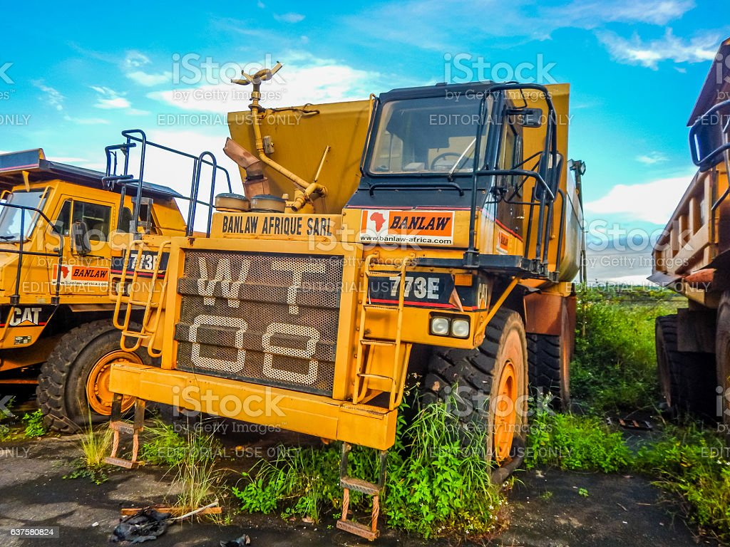 Abandoned old mining machinery. The crisis in Liberia stock photo