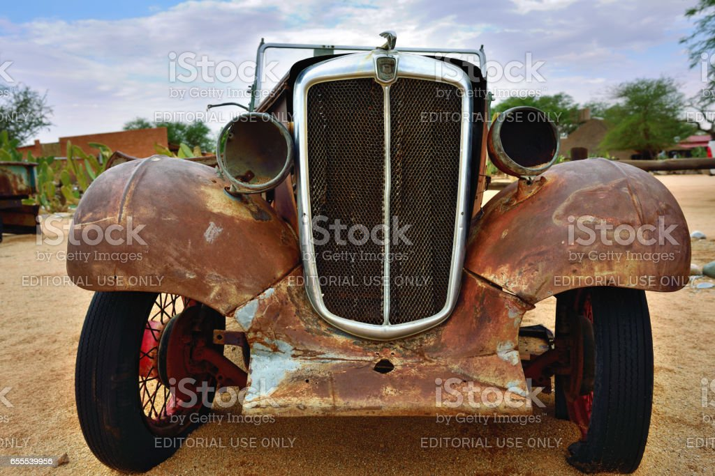 Abandoned old Morris Eight car stock photo