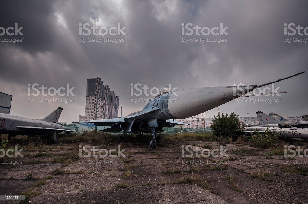 Abandoned old soviet jet stock photo