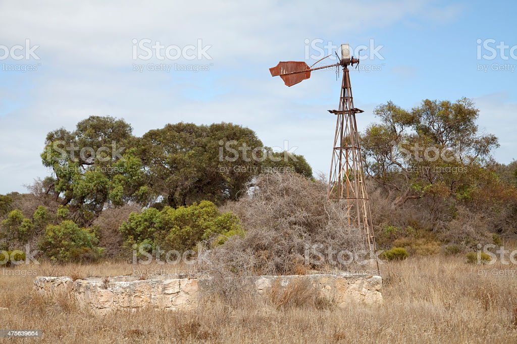 Abandoned old windmill stock photo