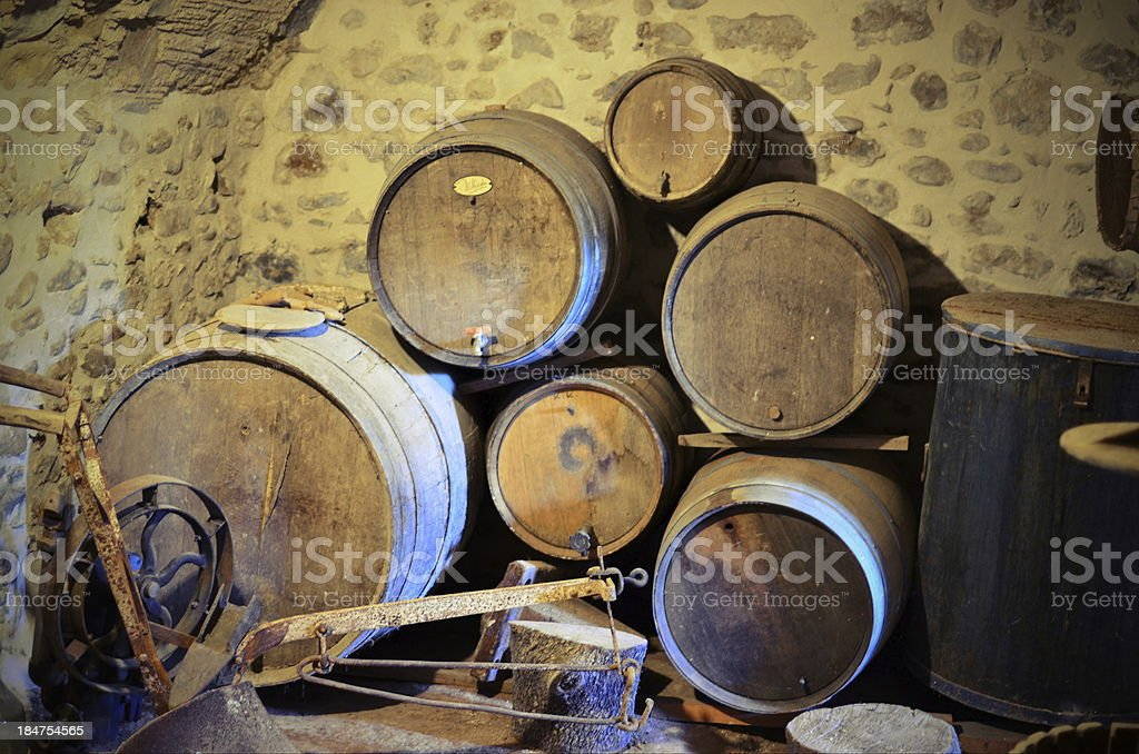 Abandoned old Winery and barrels royalty-free stock photo