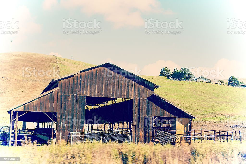 abandoned old wooden farm in California stock photo