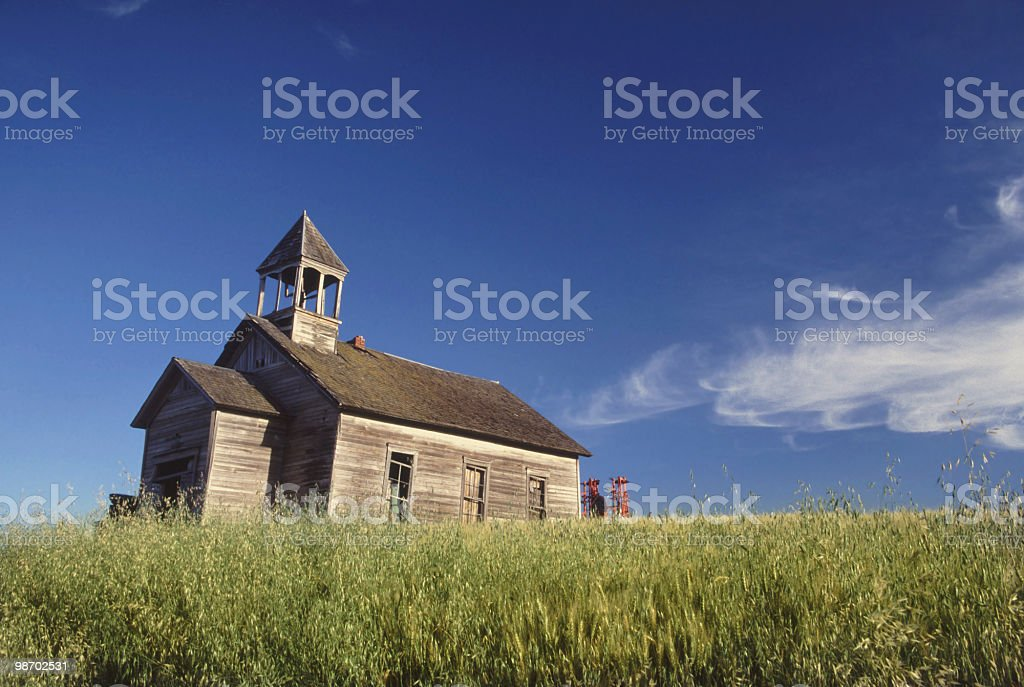 abandoned one room school house stock photo