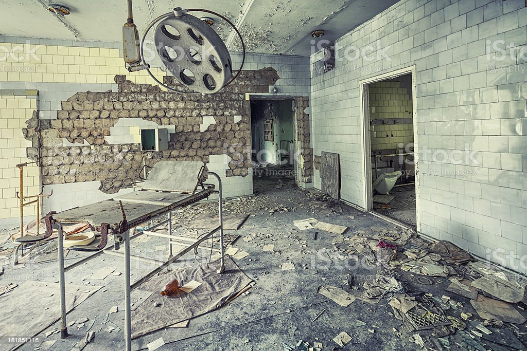 Abandoned Operating Room of an Hospital, Pripyat, Chernobyl, Ukraine stock photo