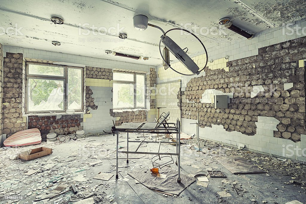 Abandoned Operating Room of an Hospital, Pripyat, Chernobyl, Ukraine royalty-free stock photo