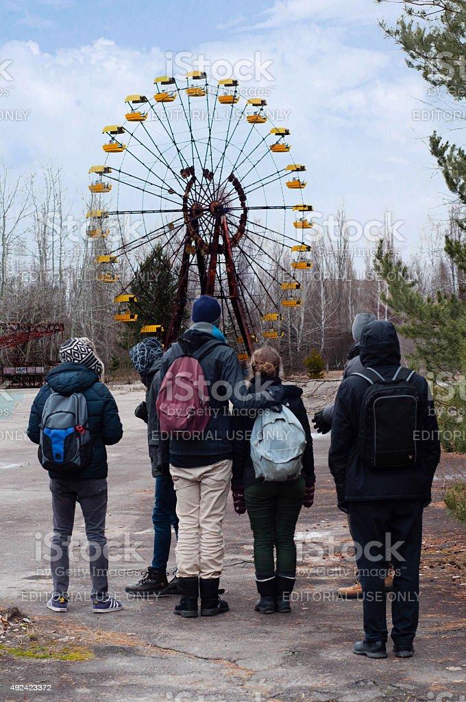 Abandoned park in Pripyat, Chernobyl stock photo