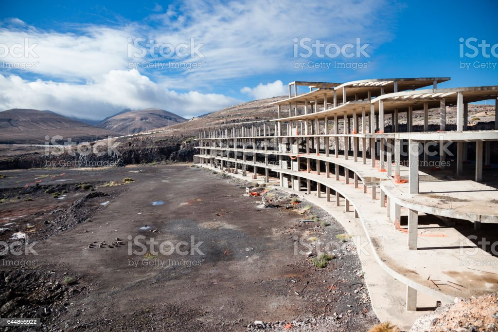 abandoned partly built hotel and apartment buildings on Fuertevntura Canary Islands stock photo