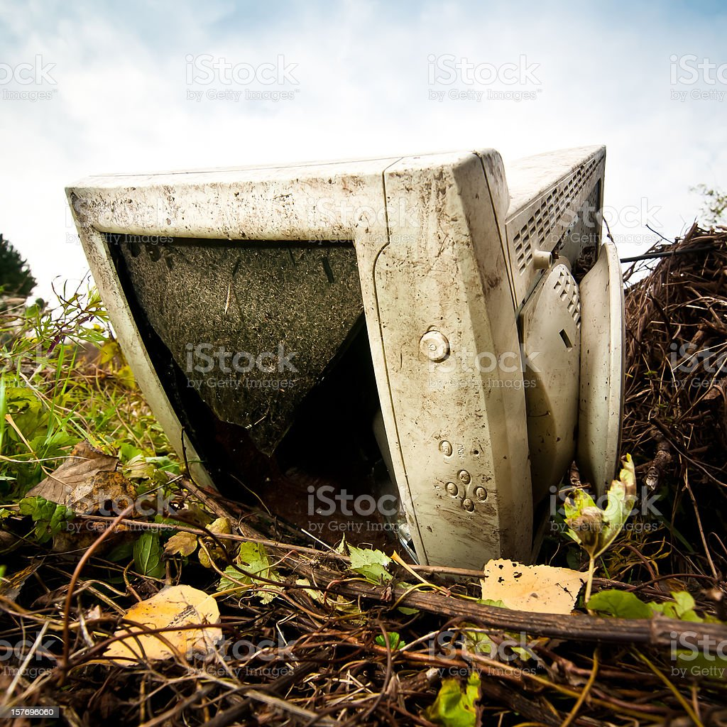 Abandoned PC monitor closeup stock photo