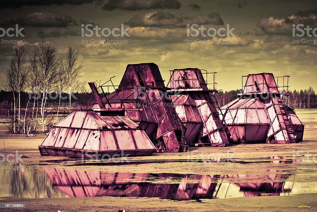 Abandoned peat extraction machinery royalty-free stock photo