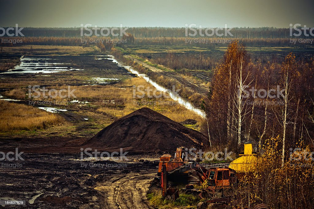 Abandoned peat extraction site. Aerial view royalty-free stock photo
