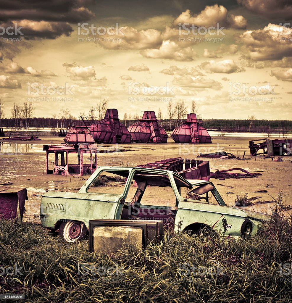 Abandoned peat extraction site royalty-free stock photo