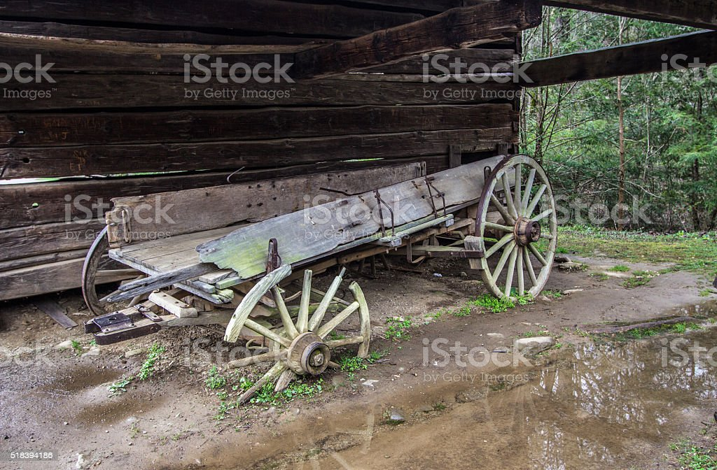 Abandoned Pioneer Wagon stock photo
