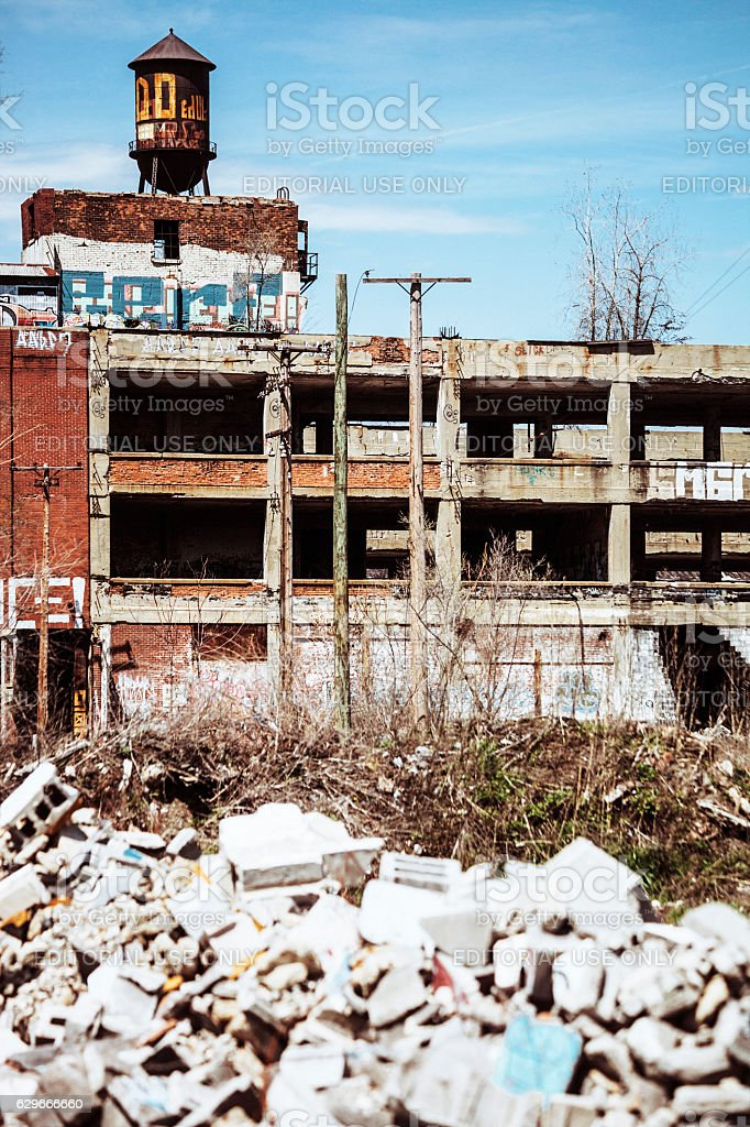 Abandoned plant. Detroit, Michigan. stock photo