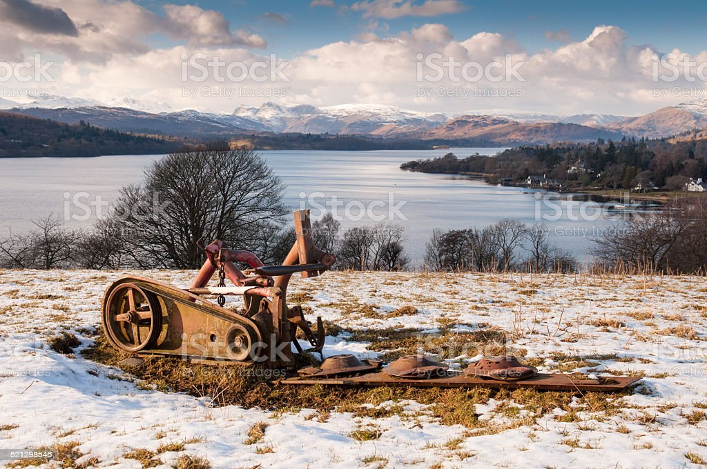 Abandoned plough above Lake Windermere stock photo