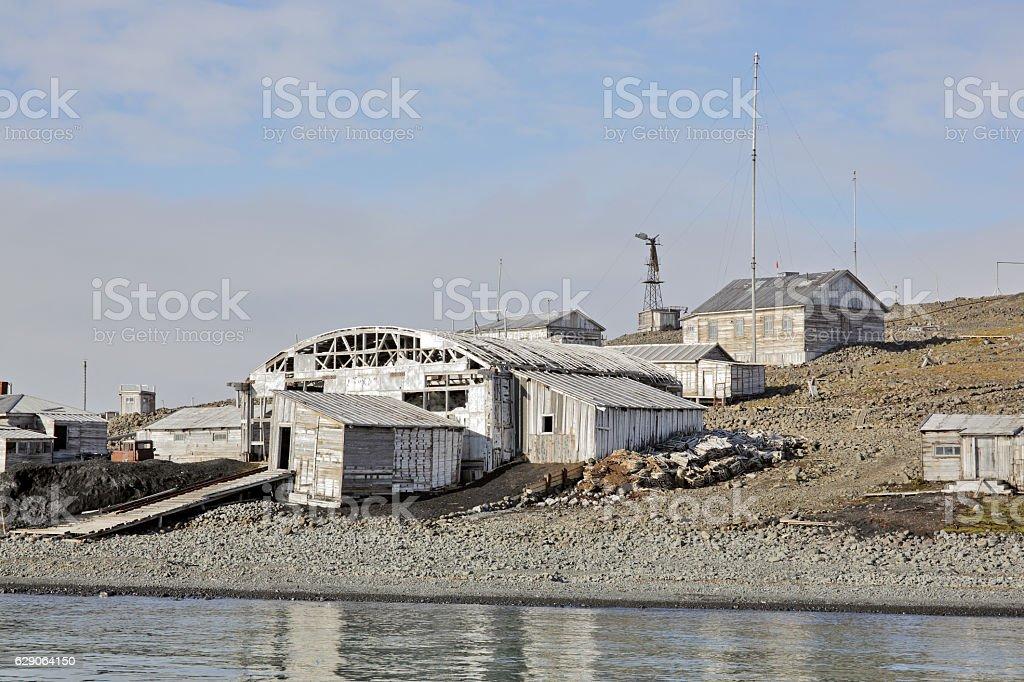 Abandoned polar station stock photo
