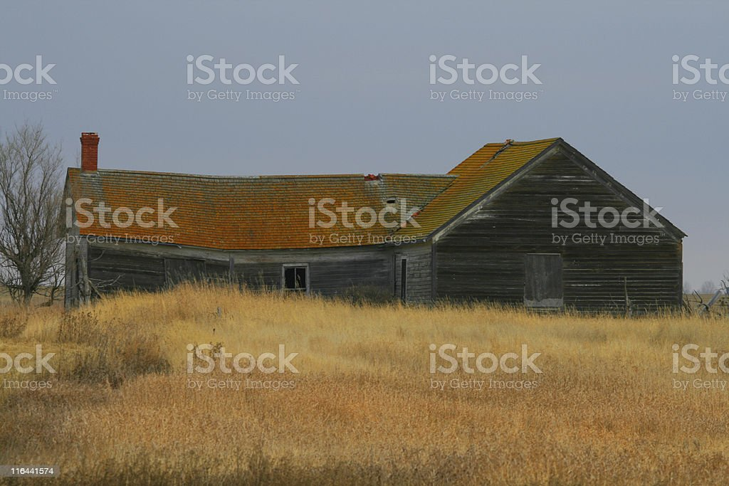 Abandoned prairie farmhouse royalty-free stock photo