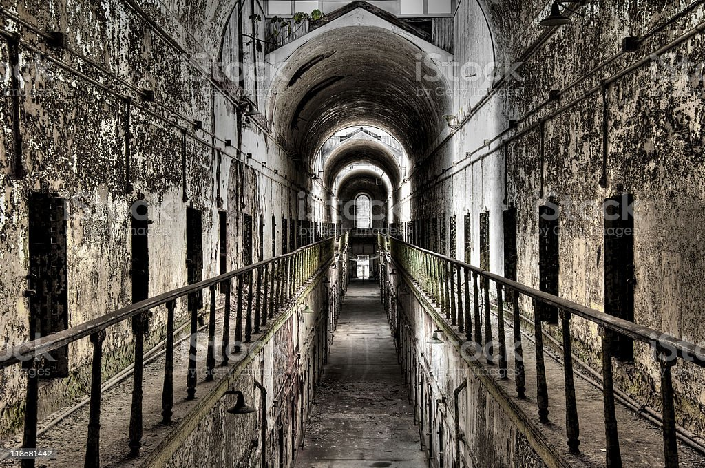 Abandoned prison cell block royalty-free stock photo
