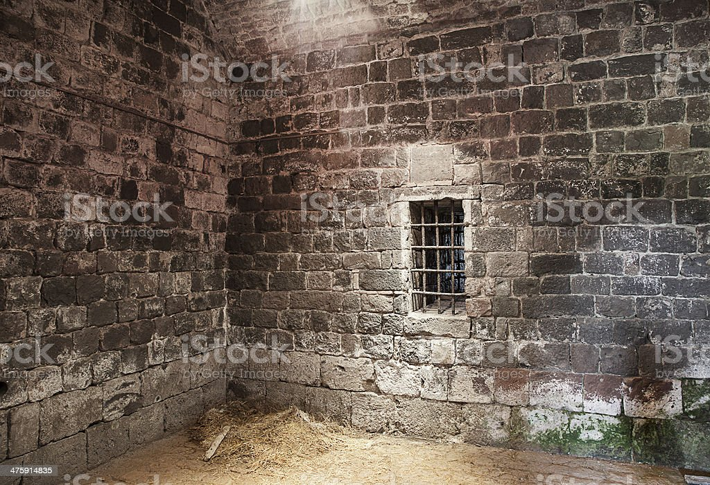 Abandoned prison cell stock photo