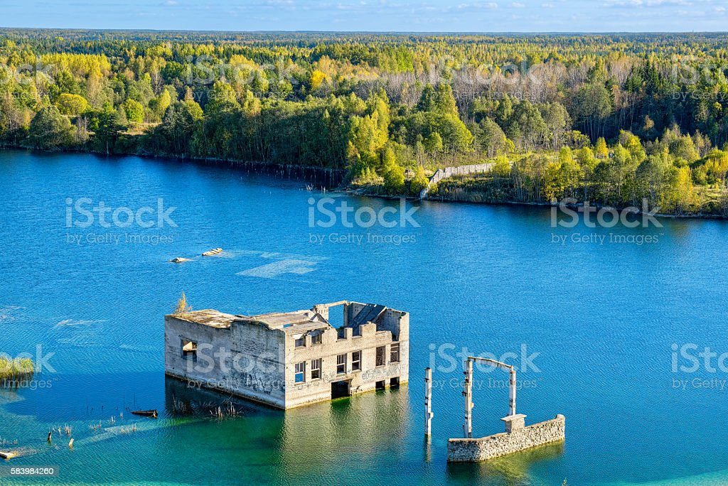 Abandoned prison. Rummu, Estonia stock photo