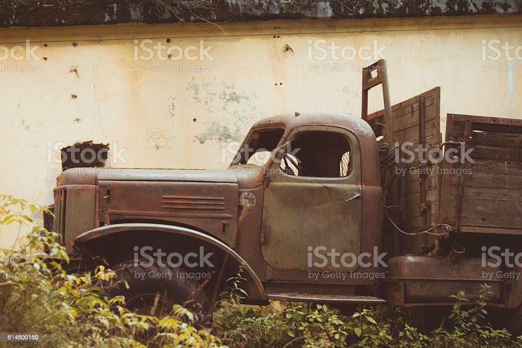 Abandoned protective bunker stock photo