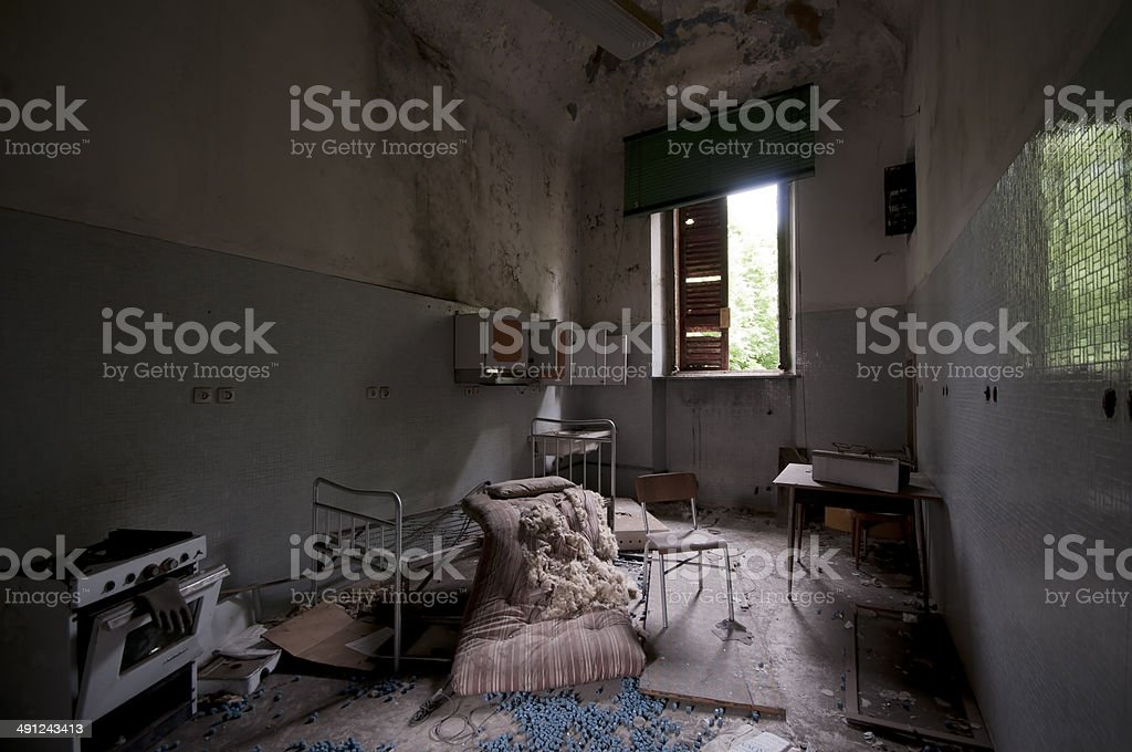 Abandoned Psychiatric Hospital stock photo