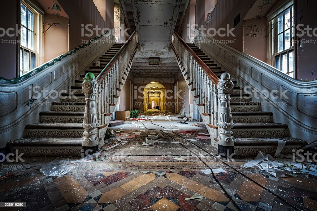 Abandoned psychiatric hospital stock photo