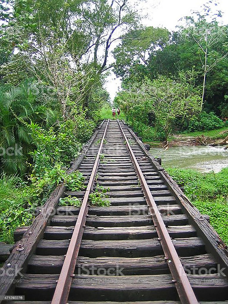 Abandoned Railroad Bridge and Trestle near San Francisco Atlantida Honduras stock photo