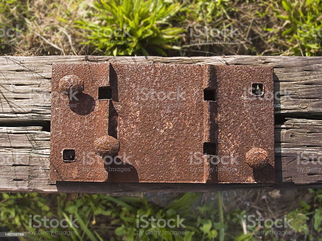 Abandoned railroad tie and spikes stock photo