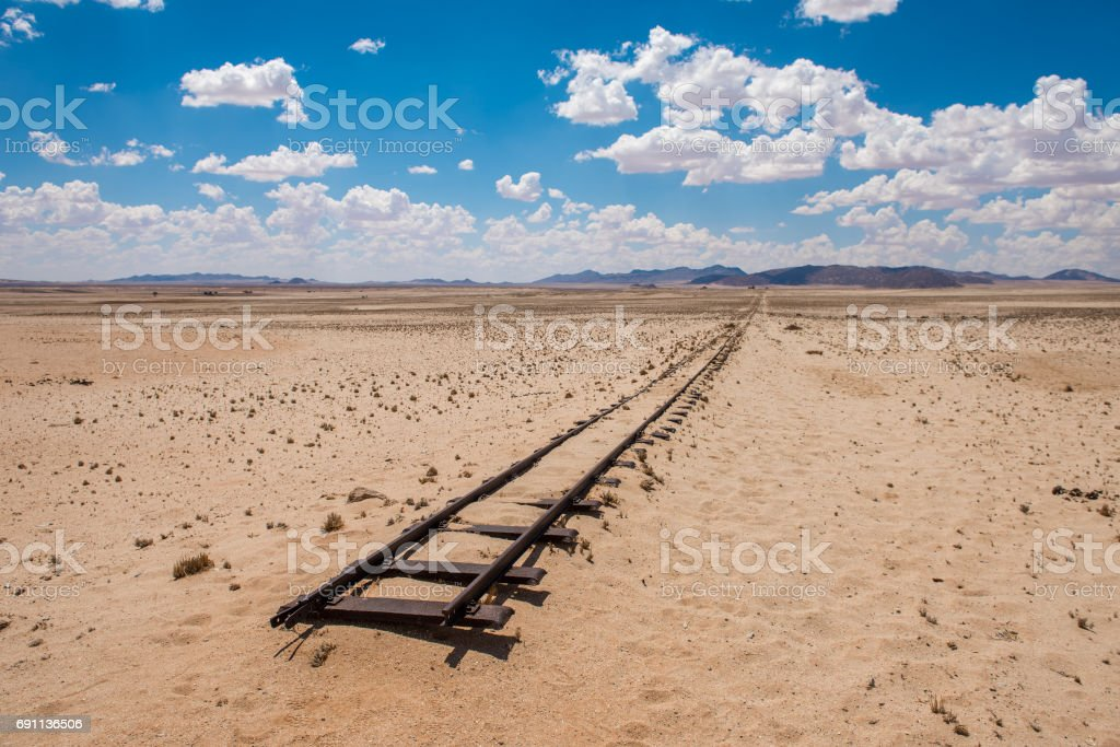 Abandoned railway tracks in the desert, Namibia stock photo