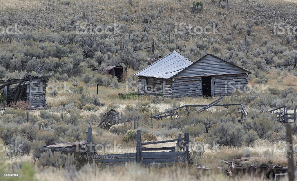 Abandoned ranch house - homestead in Montana royalty-free stock photo