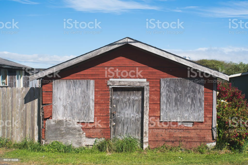 Abandoned Red Shack stock photo