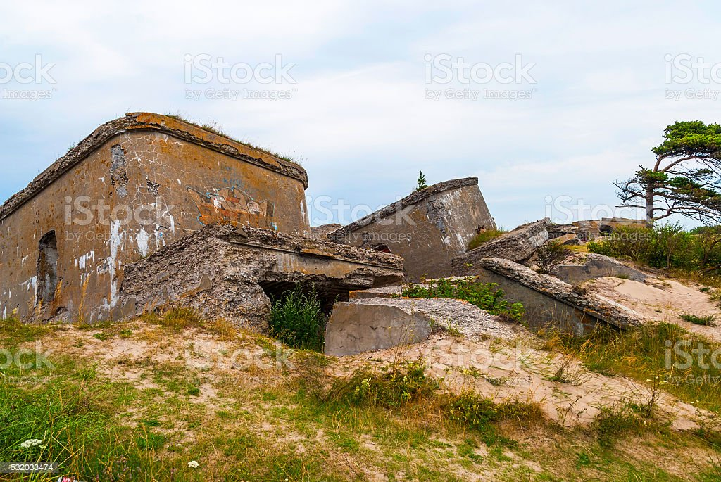 Abandoned remains of Northern forts of USSR stock photo