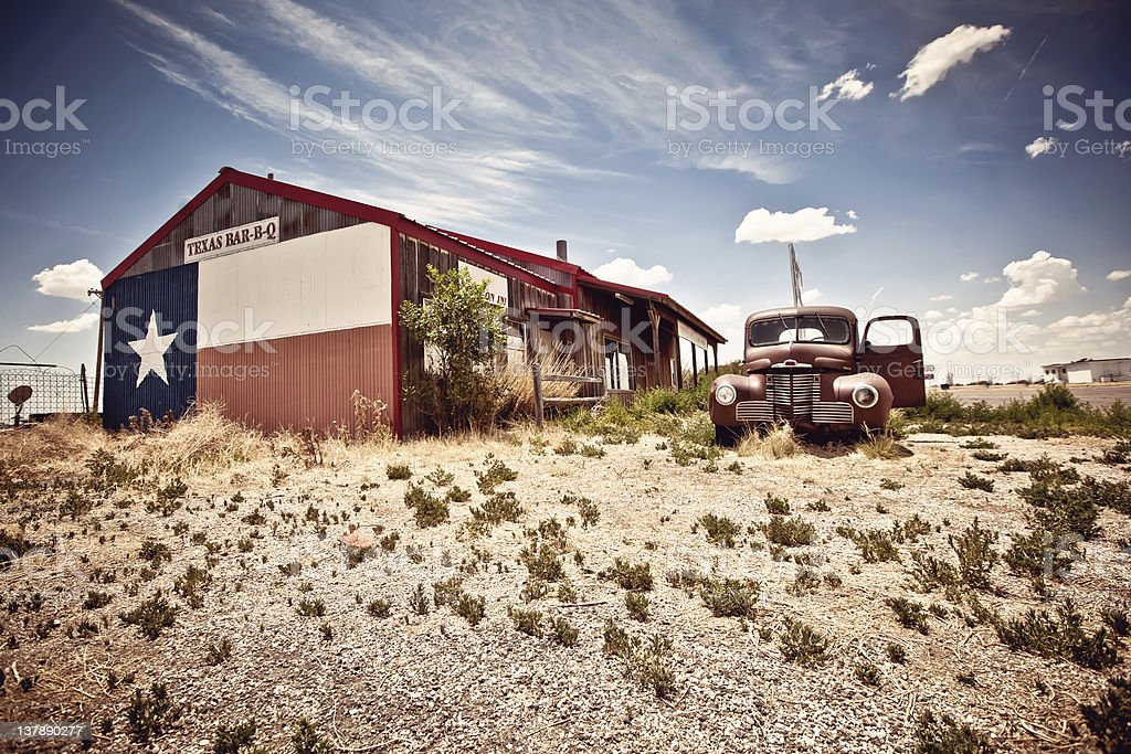 Abandoned restaraunt on route 66 road in USA royalty-free stock photo