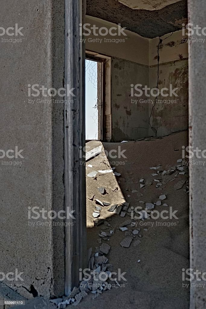 Abandoned Room in Desert stock photo