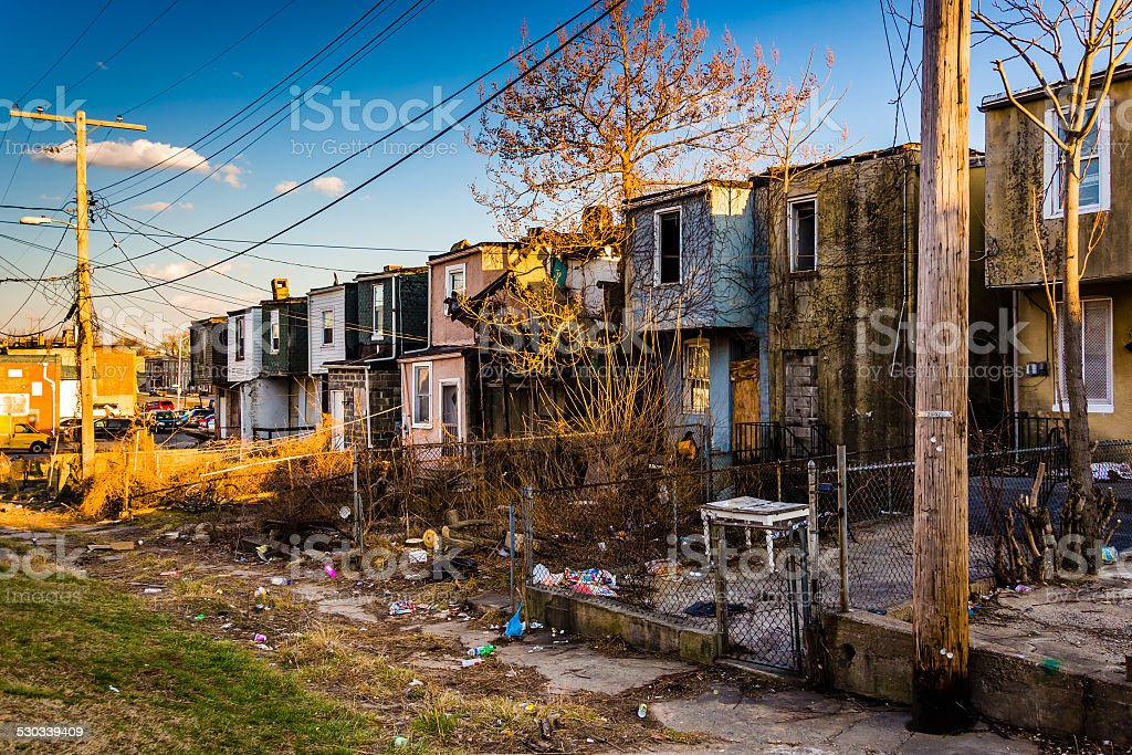 Abandoned row houses in Baltimore, Maryland. stock photo