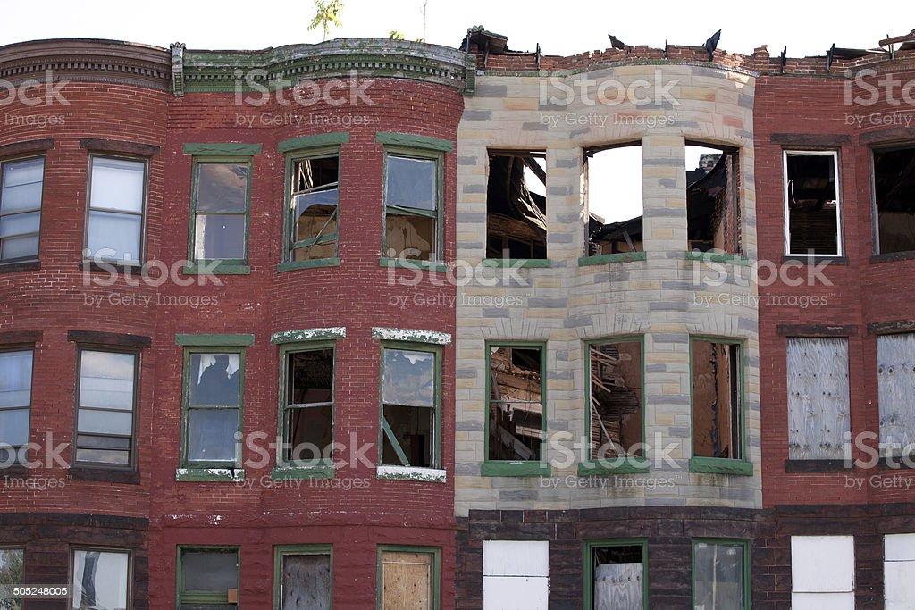 Abandoned row houses stock photo