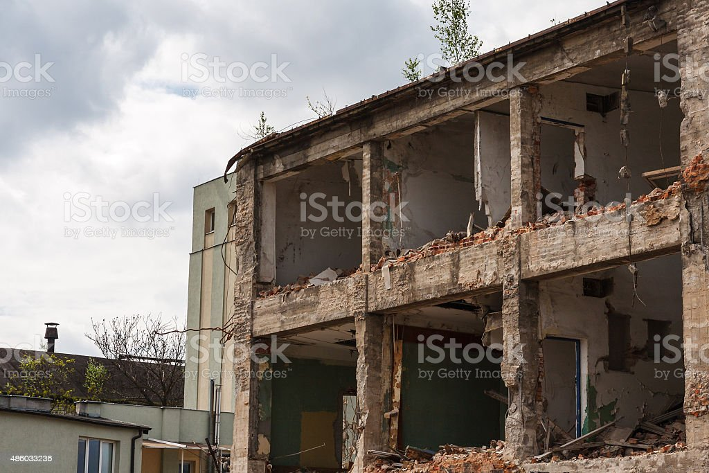 Abandoned ruined factory building stock photo