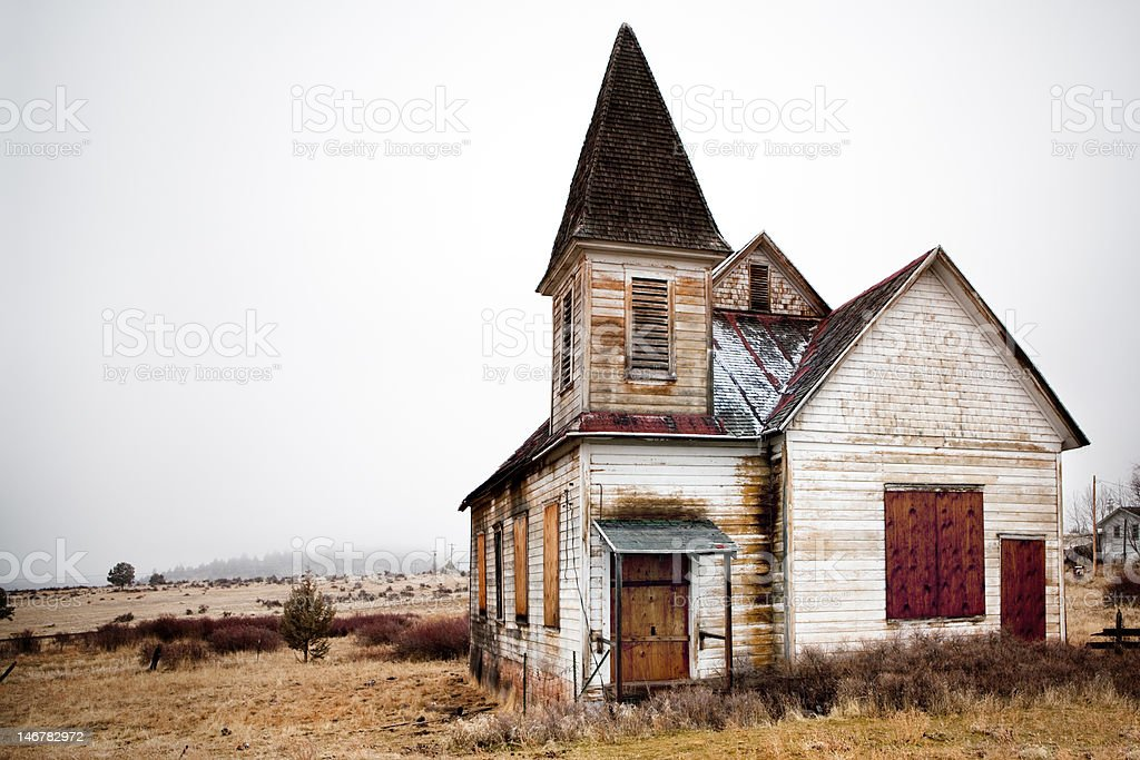 abandoned rural church stock photo