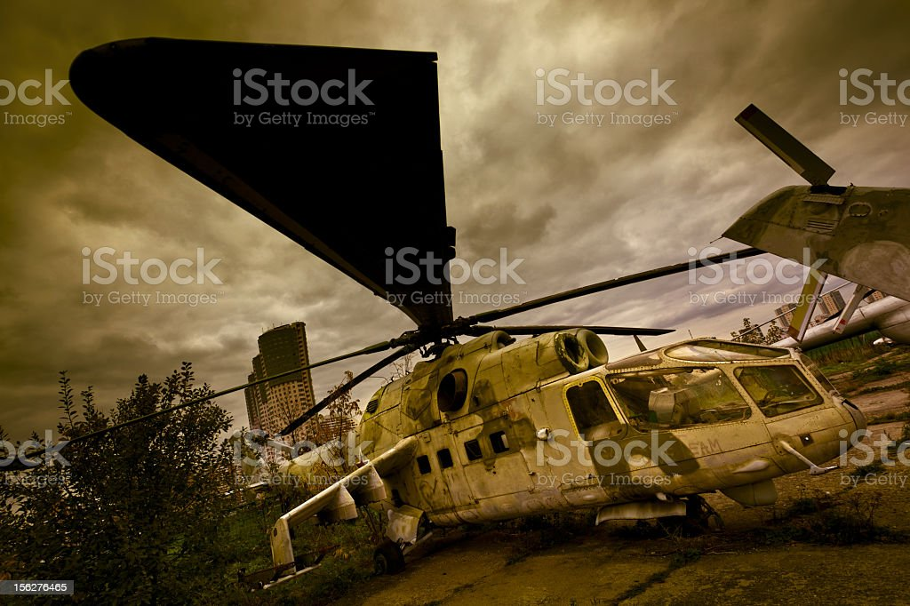 Abandoned russian military attack helicopter Mi-24A royalty-free stock photo