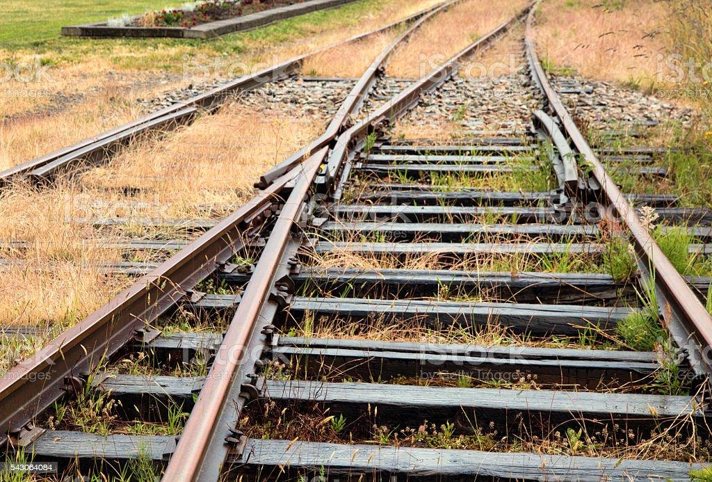 Abandoned Rusted Railway Tracks stock photo