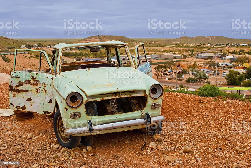 Abandoned rusty car in Coober Pedy, South Australia stock photo