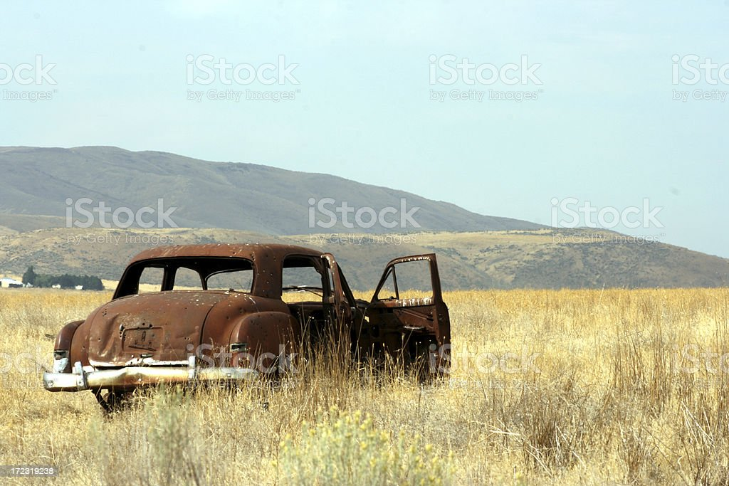 Abandoned rusty car in Palouse prairie stock photo