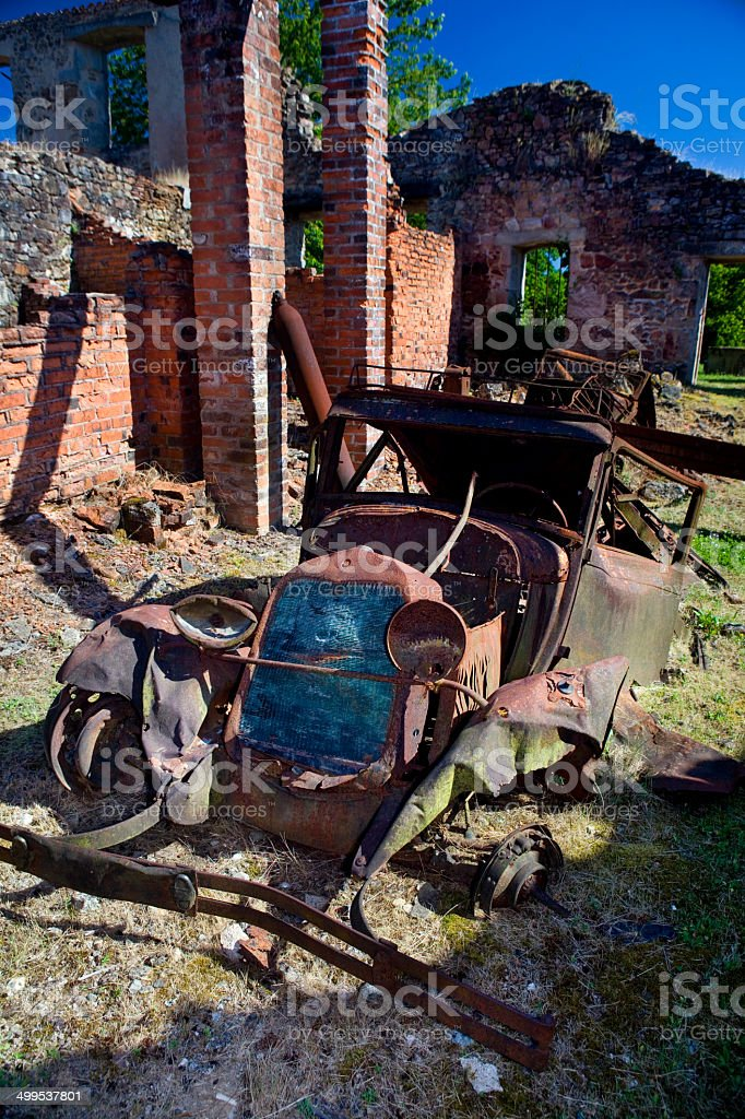 Abandoned rusty old car stock photo