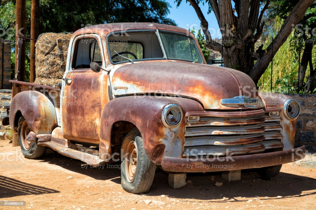 Abandoned rusty truck stock photo
