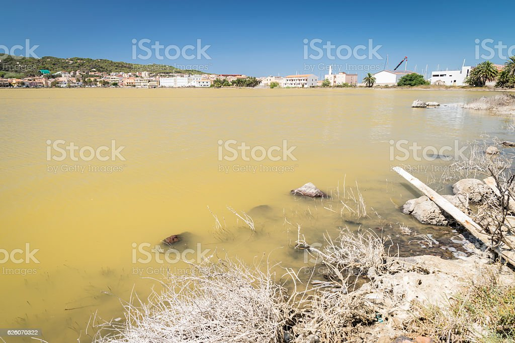 Abandoned salt pans in Carloforte, San Pietro Island, Sardinia. stock photo