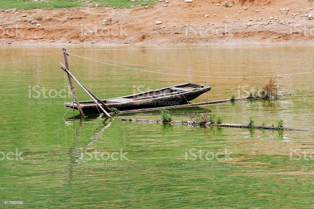 Abandoned Sampan stock photo