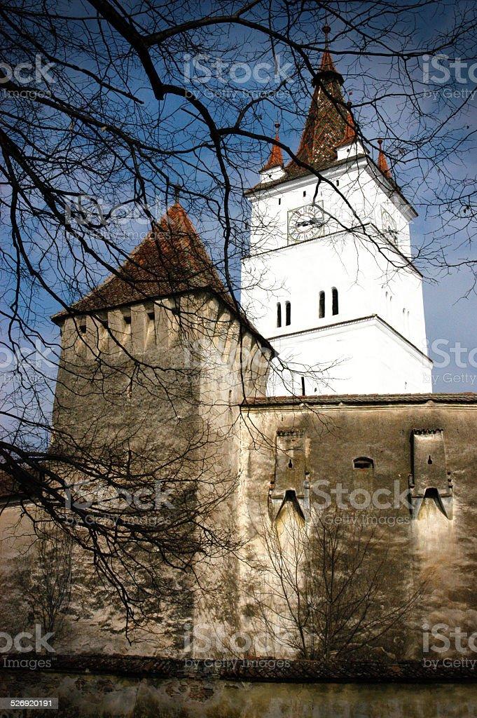 Abandoned saxon church in Harman, Transylvania stock photo